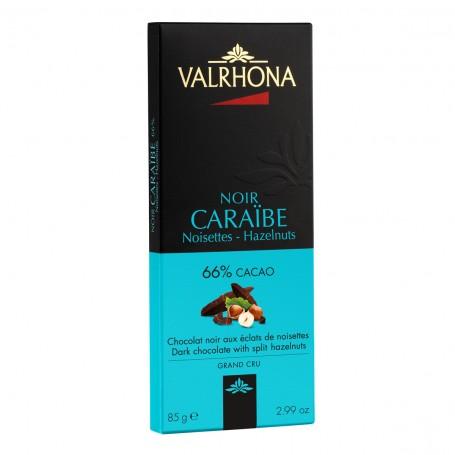 Valrhona DARK CARAIBE s lískovými ořechy 66 %, 85 g