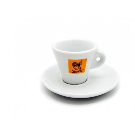 Šálek Sarito espresso se žutým logem, s podšálkem, 66 ml