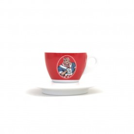 Mami's Caffé šálek na espresso s podšálkem - červený