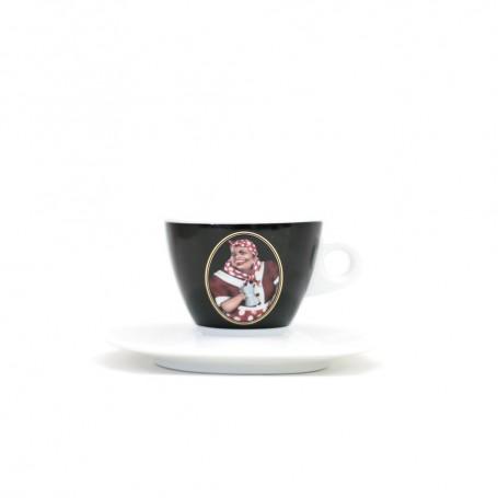 Mami's Caffé šálek na espresso s podšálkem - černý