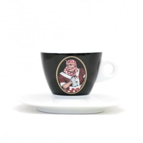 Mami's Caffé šálek na cappuccino s podšálkem - černý