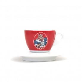 Mami's Caffé šálek na cappuccino s podšálkem - červený