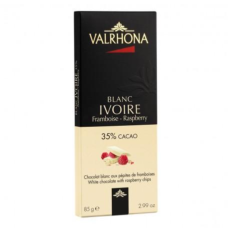 Valrhona IVOIRE s kousky malin 35 %, 85 g